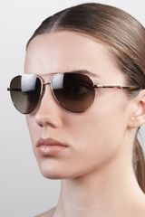 Stella McCartney Metal Aviator Sunglasses Golden - Lyst