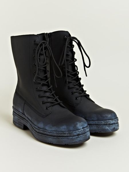 Yohji Yamamoto Mens Leather Engineer Boots In Black For