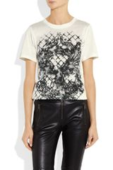 Balmain Printed Cotton Jersey Tshirt in Beige (white) - Lyst