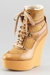 Burberry Rabbitlined Wedge Sneaker - Lyst