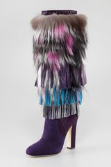 Jimmy Choo Dalia Fringed Suede and Fur Boot - Lyst