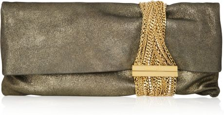 Jimmy Choo Chandra Chain Embellished Metallic Suede Clutch in Gold - Lyst