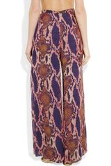 Matthew Williamson Pythonprint Chiffon Palazzo Pants in Purple - Lyst