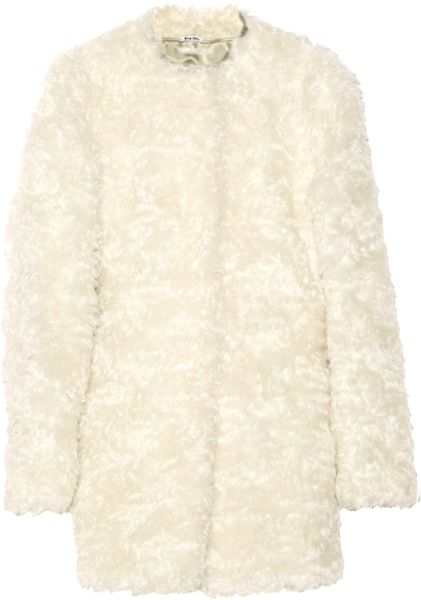 Miu Miu Mohair and Cottonblend Coat in White (ivory) - Lyst