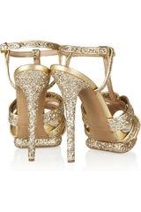 Nicholas Kirkwood Glitterfinished Leather Sandals in Gold - Lyst