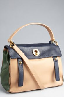 Yves Saint Laurent Carne Leather Muse Two Colorblocked Satchel - Lyst