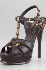 Yves Saint Laurent Printed Calf Hair Tribute Sandal - Lyst