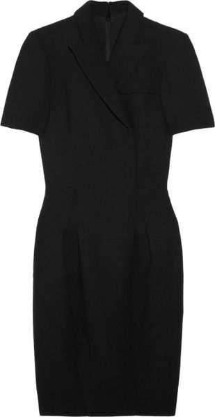 Zac Posen Woolcrepe Wrapeffect Dress in Black - Lyst