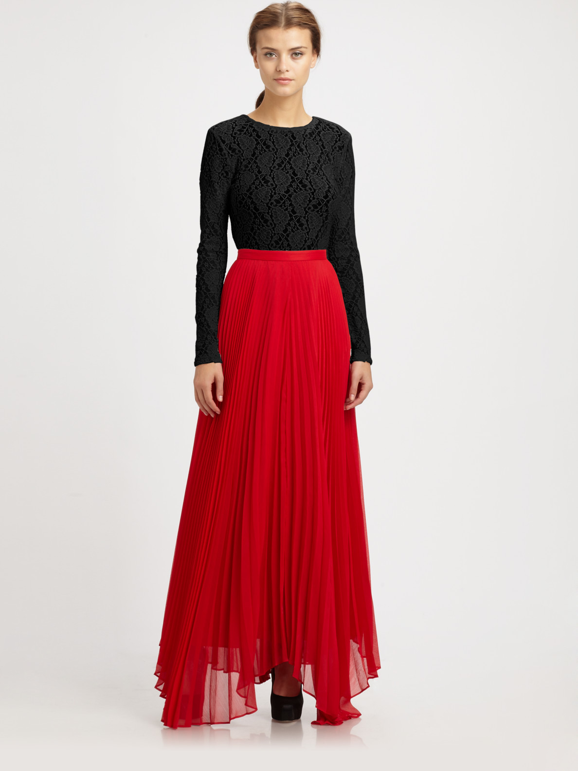 Alice   olivia Shannon Pleated Maxi Skirt in Red | Lyst