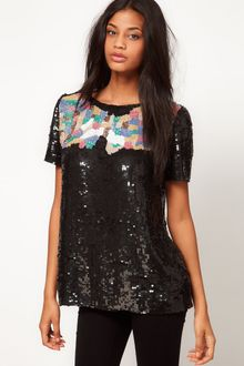 ASOS Collection Embellished T-shirt with Mosaic Beading - Lyst