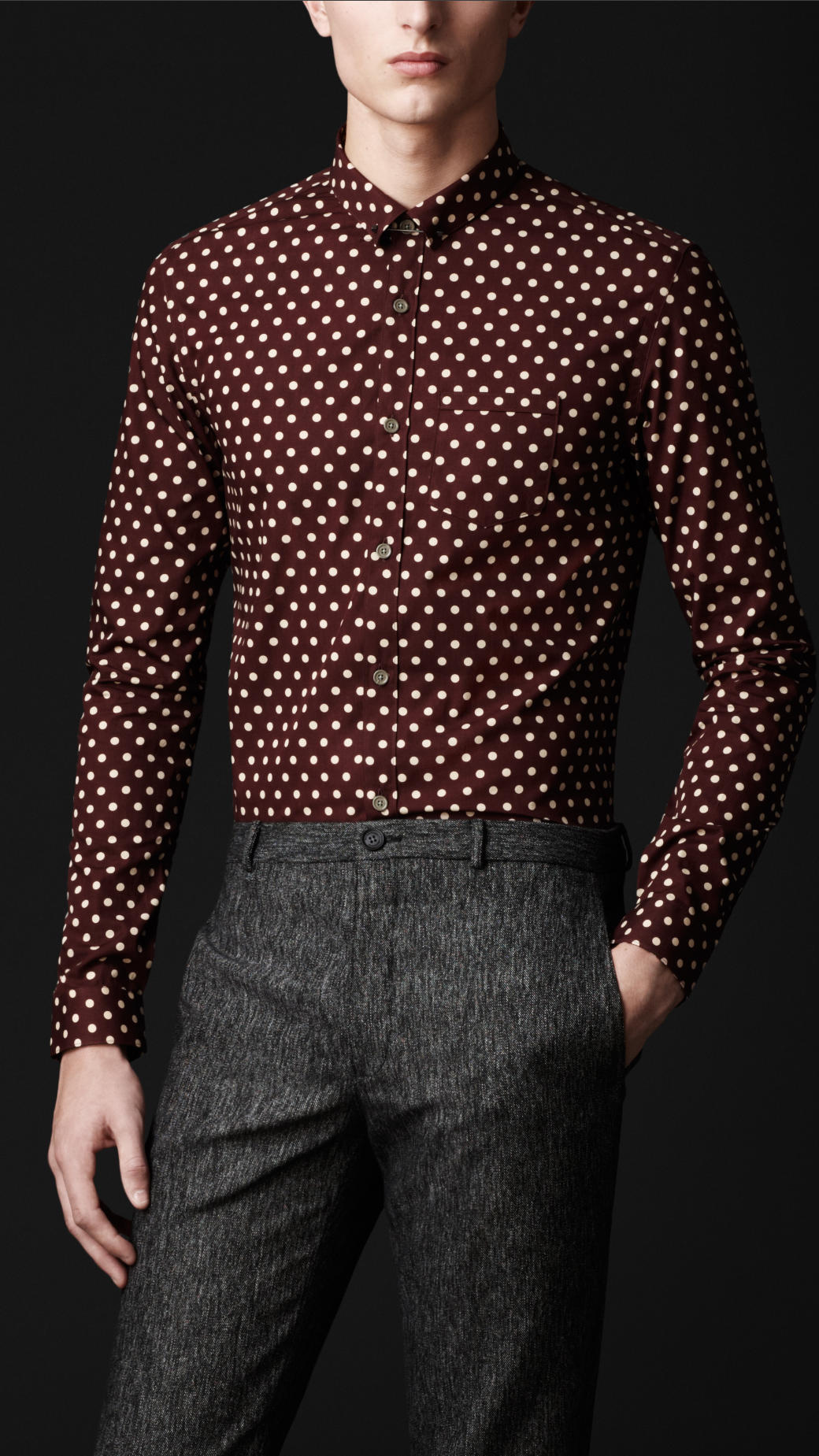 Burberry prorsum Collar Pin Polka Dot Shirt in Red for Men | Lyst