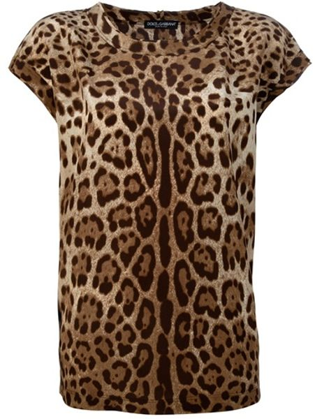 Dolce & Gabbana Printed Top in Brown - Lyst