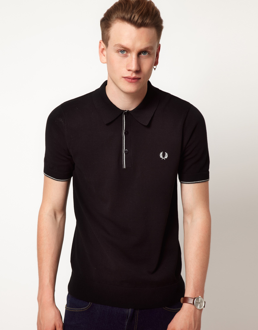 fred perry polo classic tipped shirt in black for men lyst. Black Bedroom Furniture Sets. Home Design Ideas
