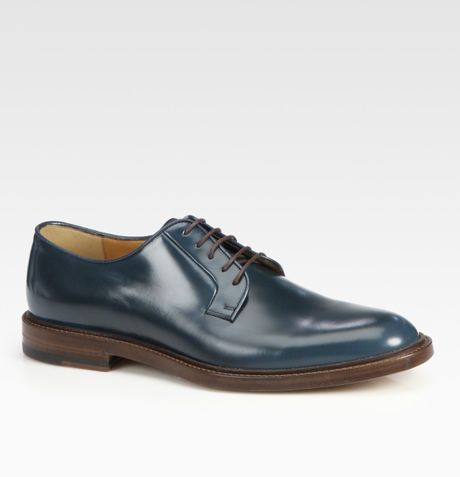 Gucci Cezanne Leather Laceup Derby in Blue for Men - Lyst