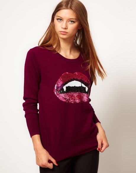 Markus Lupfer Jumper with Sequin Vampire Lips in Purple (beetroot) - Lyst