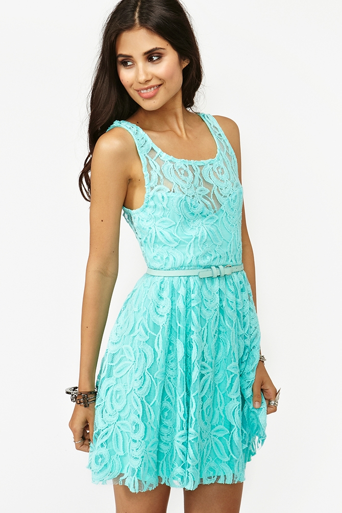 Lyst Nasty Gal Layla Lace Dress Sky Blue In Blue