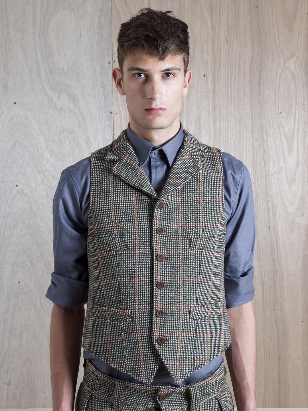 Nigel cabourn Harris Tweed Waistcoat in Orange for Men