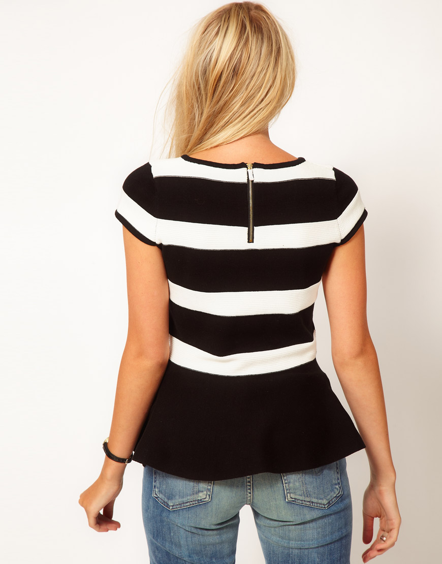 77693e911050ea Oasis Stripe Peplum Top in Black - Lyst