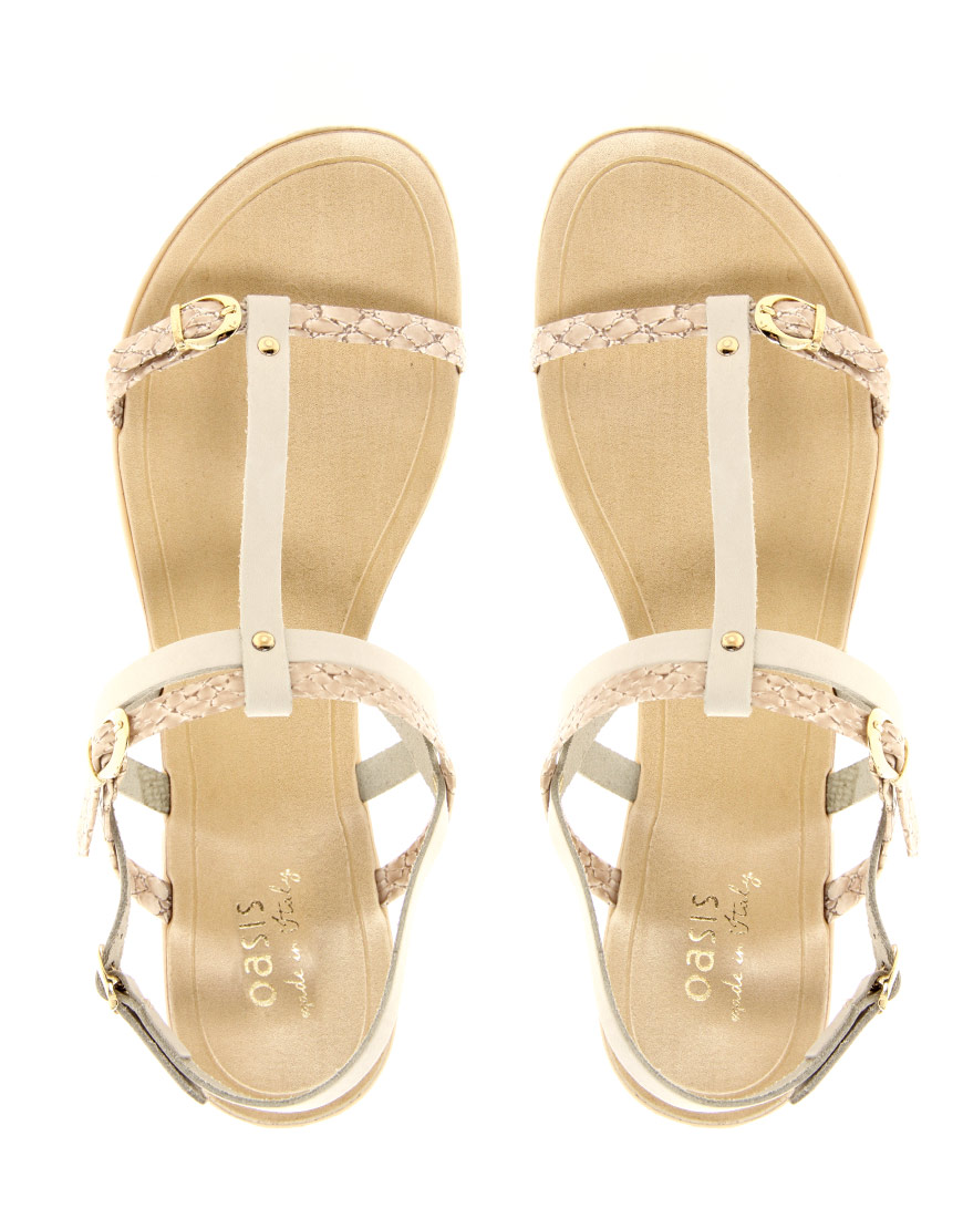 5646169ced23 Lyst - Oasis Snake Print Flat Sandals in White