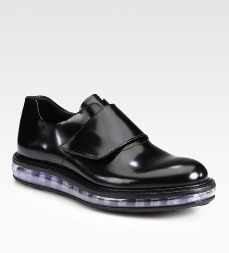 Prada Spazzolato Leather Loafer in Black for Men - Lyst