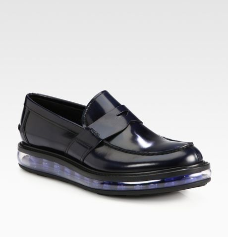 Prada Spazzolato Penny Loafer in Blue for Men - Lyst
