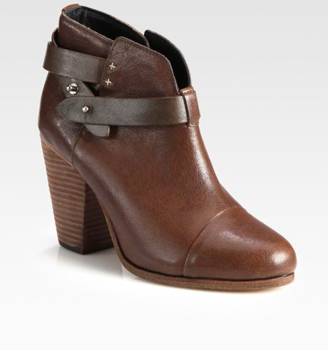 rag bone harrow leather ankle boots in black brown lyst