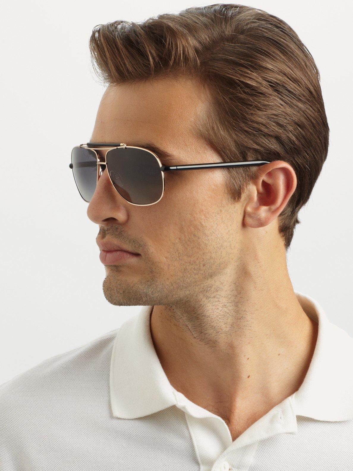 Lyst Tom Ford Z Metal Navigator Sunglasses In Black For Men