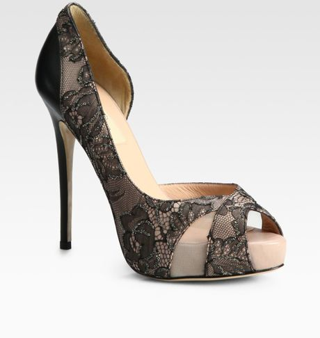 valentino beaded lace and leather dorsay pumps in black  lyst