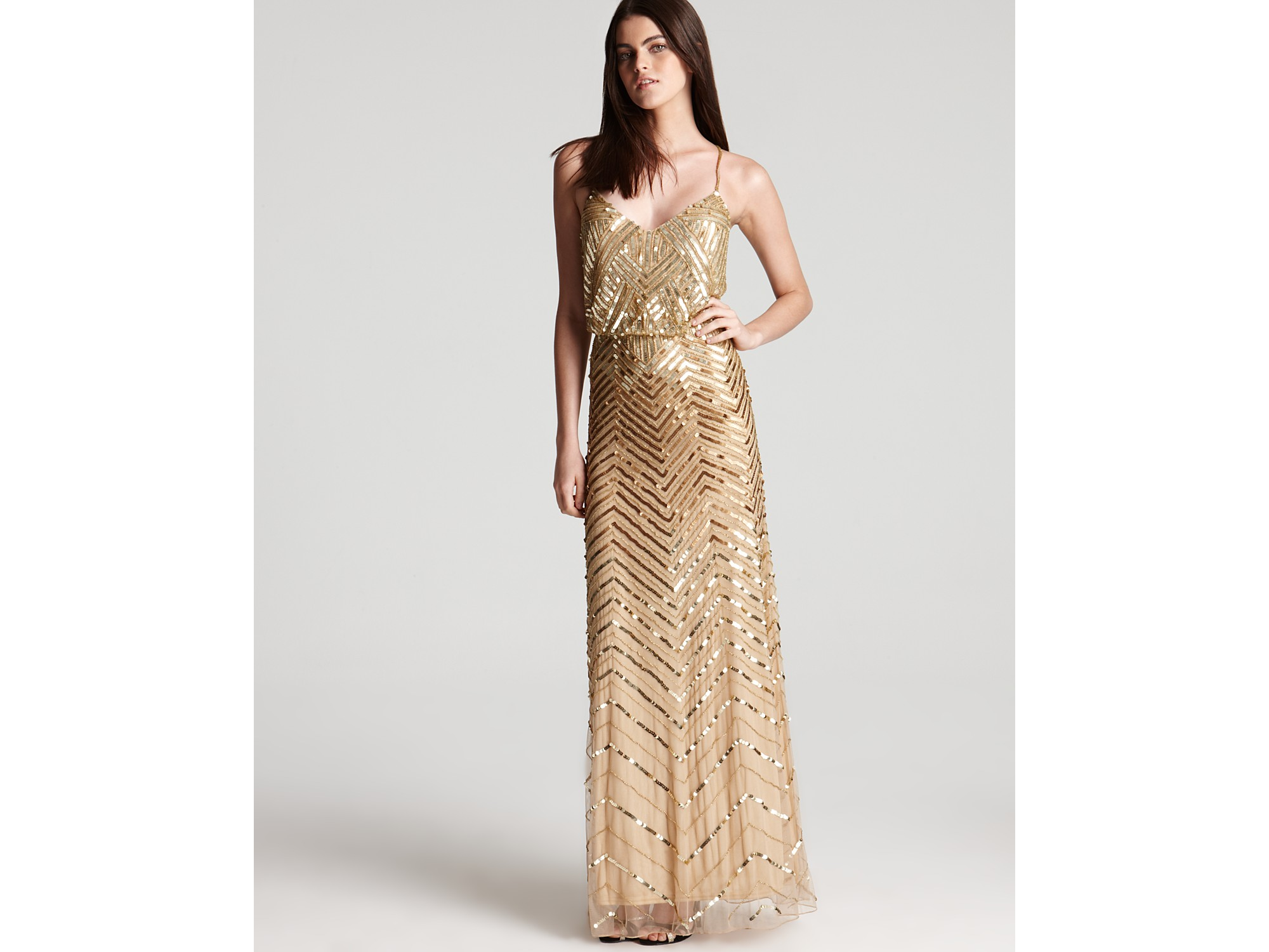 Lyst Adrianna Papell Beaded Gown Sleeveless V Neck Blouson In Metallic
