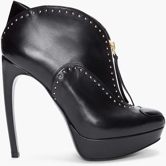 Alexander McQueen Black Studded Leather Pumps - Lyst