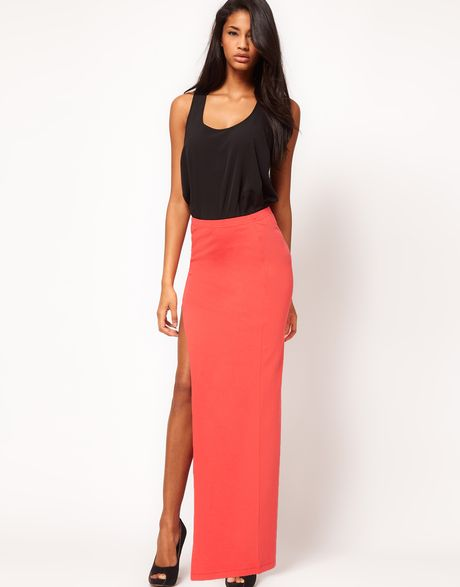 asos maxi skirt with thigh high split in lyst