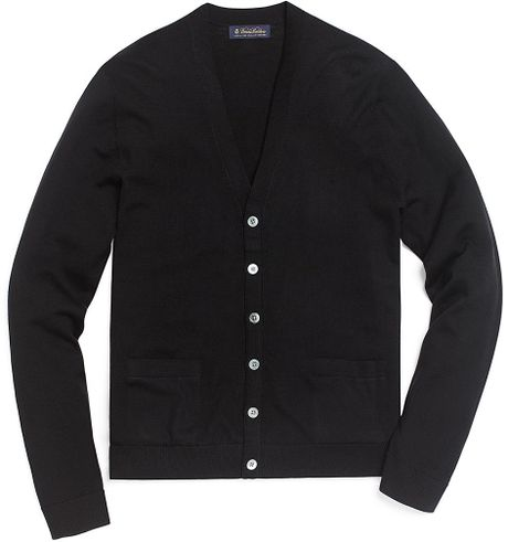Brooks Brothers Merino Button Down Cardigan In Black For