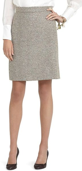 Brooks Brothers Tweed Boucle Skirt in Gray (camel) - Lyst