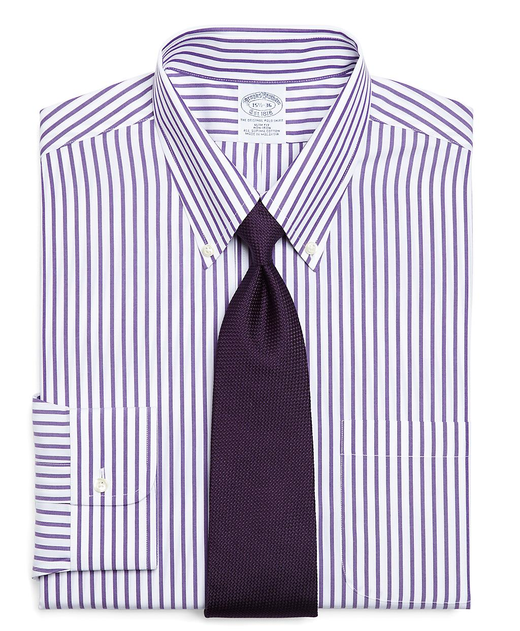 Brooks brothers supima cotton noniron slim fit bold stripe for Supima cotton dress shirts