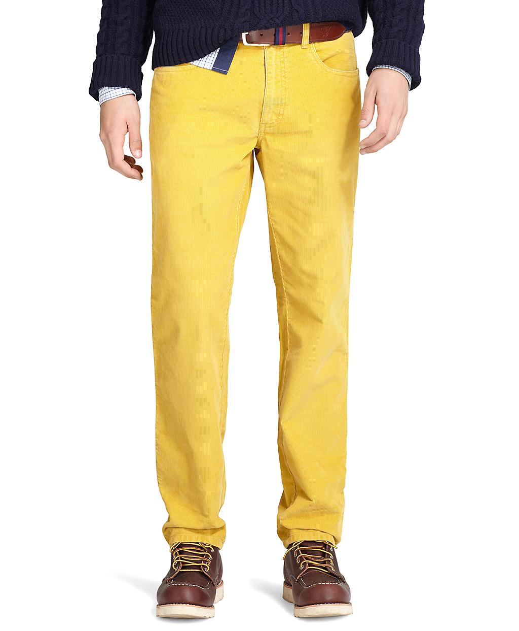 Pair yellow pants with blue, gray, black, white and other such muted tones. When going for casual wear, slip into a pair of cotton yellow pants. Those are comfy and easy to manage. Yellow pants look best with brown suede shoes. Black and purple can be opted as well but none of them can beat brown at its game.
