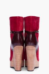 Chloé Burgundy Suede Wedge Boots in Red (burgundy) - Lyst