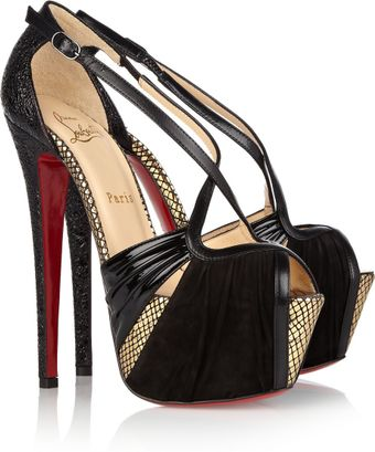Christian Louboutin Divinoche 160 Suede and Textured Leather Sandals - Lyst