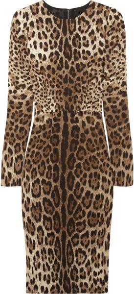 Dolce & Gabbana Leopardprint Crepe Dress in Animal (leopard) - Lyst
