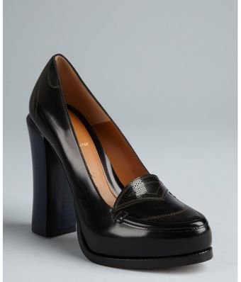 Fendi Black and Blue Colorblock Leather Stacked Heel Loafers - Lyst
