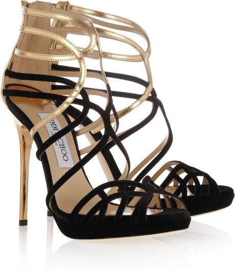 Jimmy Choo Melvin Velvet and Metallic Leather Sandals in Gold (black) - Lyst