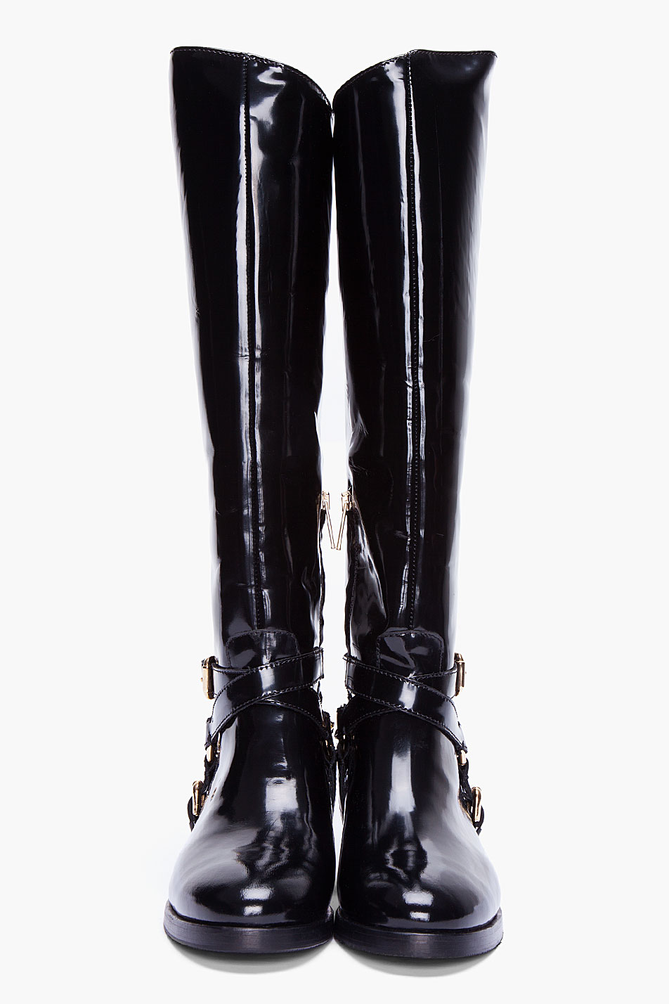 Lyst Mcq Black Patent Riding Boots In Black