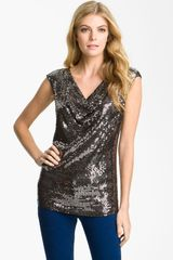 Michael by Michael Kors Drape Neck Sequin Top - Lyst