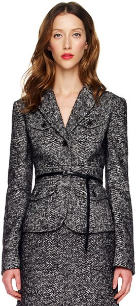 Michael Kors Herringbone Jacket in Black - Lyst