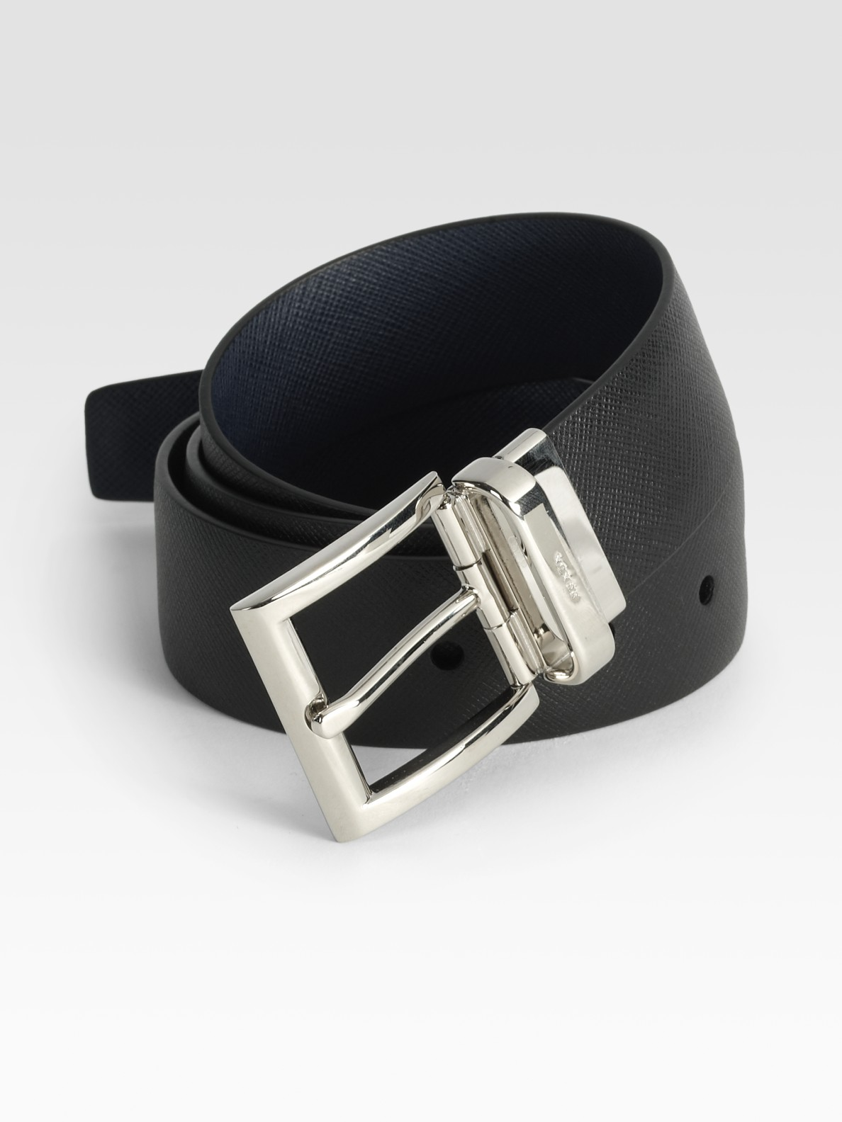 prada reversible saffiano leather belt in black for lyst