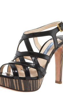 Prada Leather Crisscross Wood Sandal - Lyst