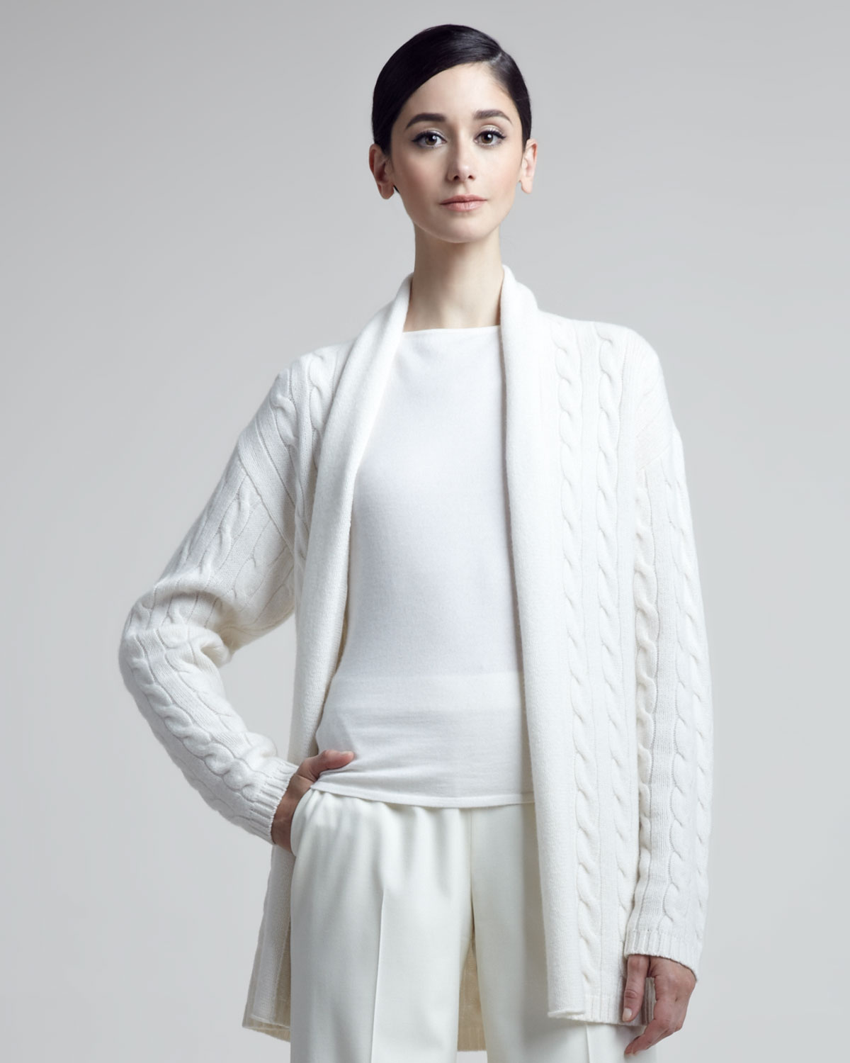 Ralph lauren black label Cableknit Cashmere Cardigan in White | Lyst