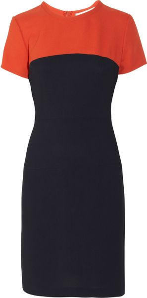 Stella Mccartney Sophie Twotone Crepe Dress in Blue (orange) - Lyst