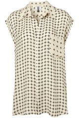 Topshop Cross Print Sleeveless Shirt By Unique in Beige (cream) - Lyst