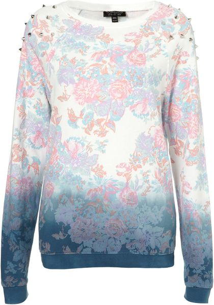 Topshop Floral Dip Dye Sweat in Multicolor (multi)
