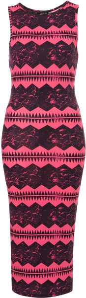Topshop Aztec Print Midi Bodycon Dress in Pink - Lyst